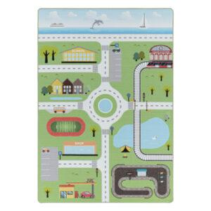 Play 2902 zöld vidéki autóút mintás gyerekszőnyeg - neofloorshop.hu